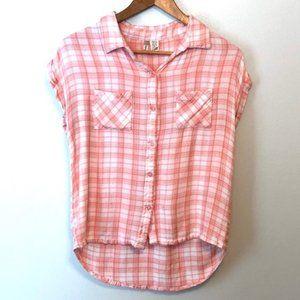 Japna Plaid Short Sleeve Button Down Pink/white